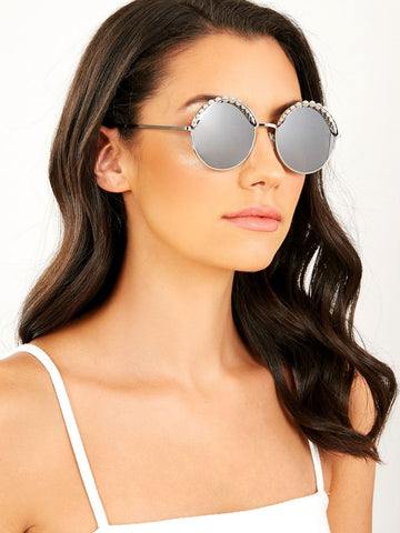 Thin Metal Rim Pearl Detail Round Sunglasses