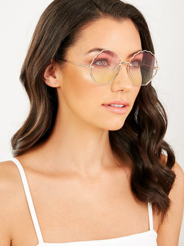 Scalloped Edge Round Lens Retro Sunglasses