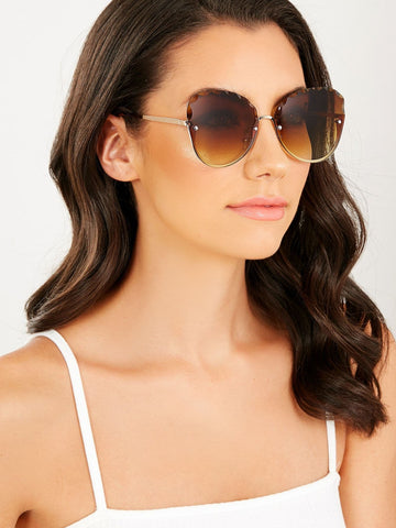 Pearl Detail Metal Rim Faceted Lens Sunglasses