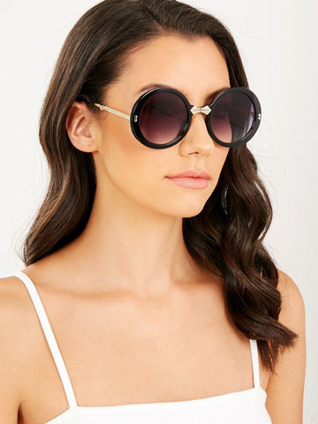 Collapsible Oversized Round Frame Sunglasses