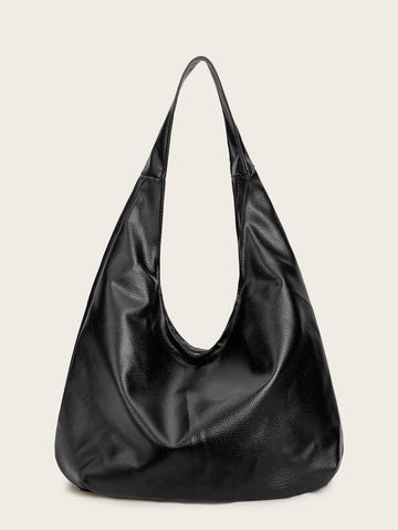Black Pebble Detail Slouch Hobo Bag