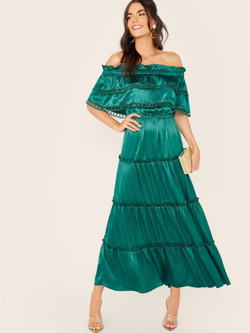 Green Off Shoulder Layered Frilled Bardot Satin Dress
