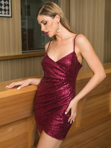 Burgundy Sleeveless V-Neck Wrap Detail Sequin Slip Bodycon Dress