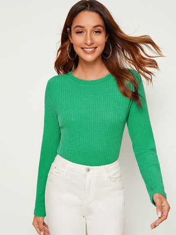 Green Round Neck Long Sleeve Rib-knit Solid Slim Fit Top