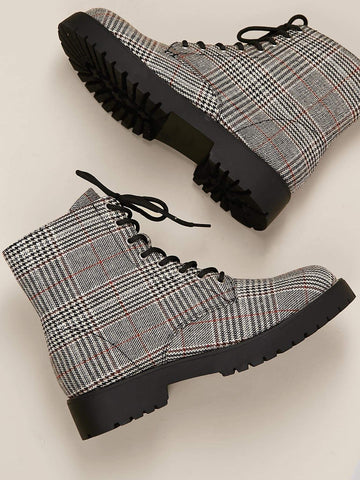 Houndstooth Lace Front Lug Sole Combat Boots