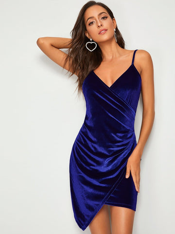 Navy Blue Sleeveless Ruched Surplice Asymmetrical Hem Velvet Cami Dress