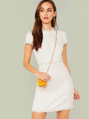 White Round Neck Cap Sleeve Pearl Beaded Frayed Trim Tweed Dress