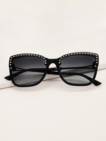Black Rhinestone Decor Flat Lens Sunglasses