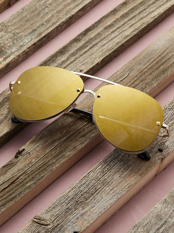 Reflective Oversized Metal Aviator Sunglasses
