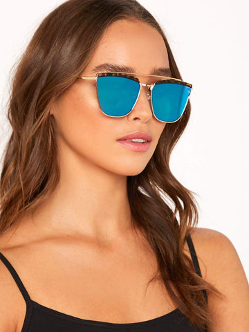 Colored Lens Aviator Metal Rim Sunglasses