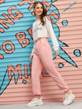 Pink Button Up Corduroy Solid Pants