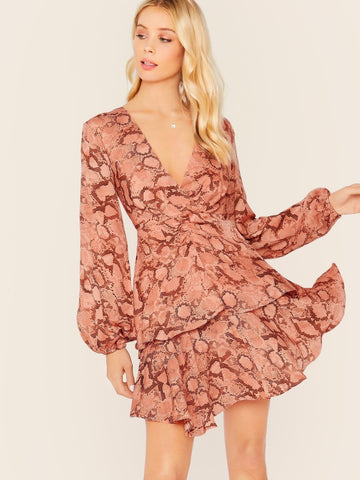 V-Neck Bishop Sleeve Layered Ruffle Snake Print Dress