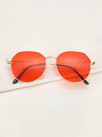 Orange Metal Frame Tinted Lens Sunglasses With Case