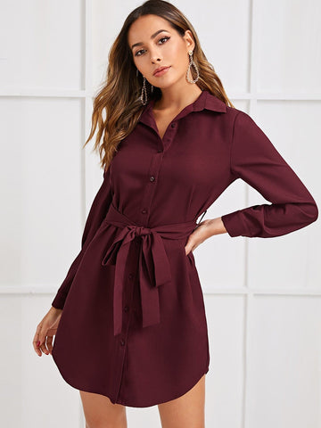 Self Belted Curved Hem Shirt Dress