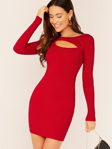 Red Round Neck Neckline Cut Out Long Sleeve Rib Knit Slim Fit Dress