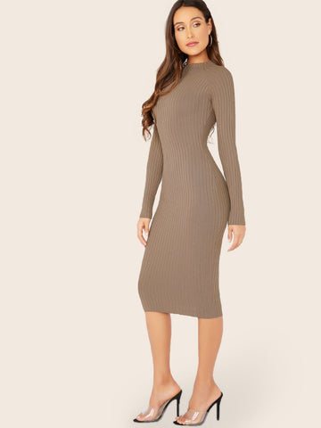 Grey High Neck Long Sleeve Rib Knit Midi Slim Fit Dress