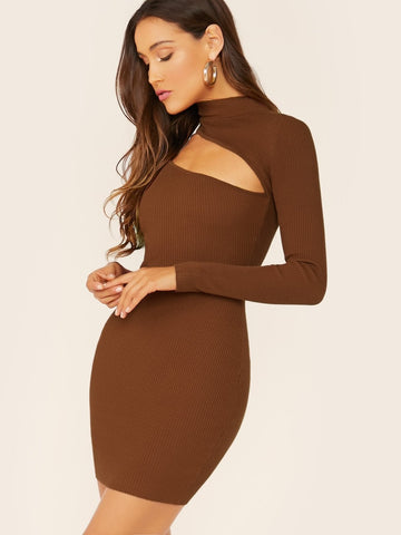 Brown High Neck Cut Out Long Sleeve Ribbed Slim Fit Dress