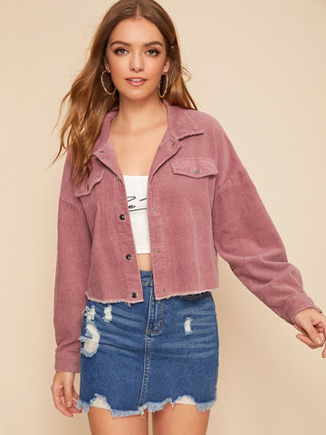 Pink Single Breasted Button Front Raw Hem Cord Jacket