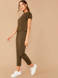 Round Neck Short Sleeve Top & Tie Front Pants Set