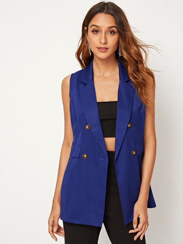 Blue Sleeveless Notched Double Button Vest Blazer