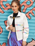 White Contrast Ombre Tape Zipper Fly Jacket