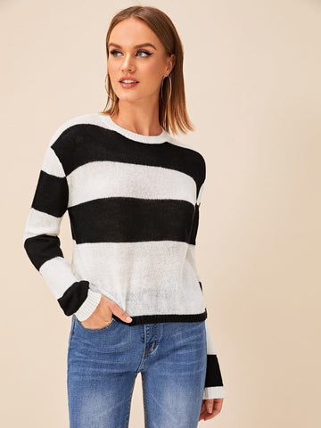 Black and White Two Tone Round Neck Drop Shoulder Sweater