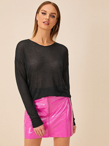 Black Round Neck Drop Shoulder Semi Sheer Sweater