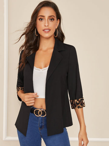 Black Notch Collar Leopard Print Cuffed Sleeve Blazer