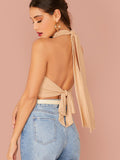 Stand Collar Slim Fit Tie Back Crop Halter Top
