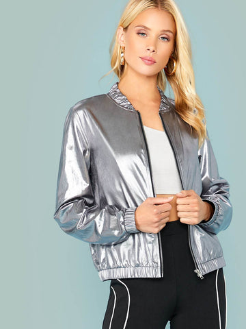 Grey Silver Stand Collar Zip Up Metallic Bomber Jacket