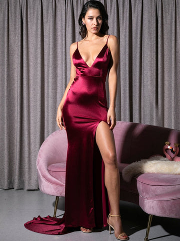 Burgundy Sleeveless Split Thigh Backless Floor Length Satin Slip Dress