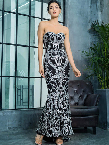 Black Sleeveless Strapless Zip Back Fishtail Hem Sequin Tube Slim Fit Dress