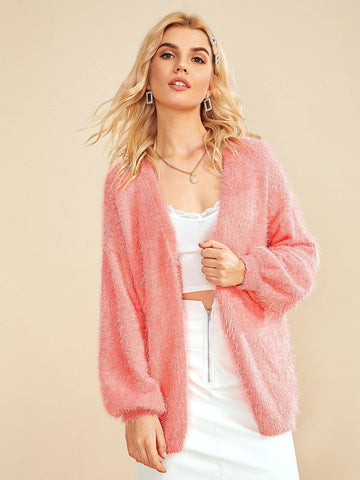 Open Front Bishop Sleeve Fuzzy Cardigan