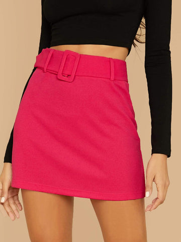 High Waist Buckle Belted Solid Mini Skirt