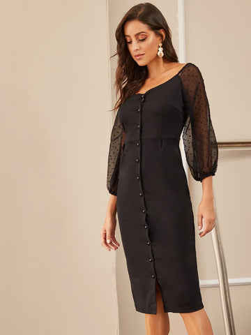 Black Contrast Dobby Mesh Button Front Dress