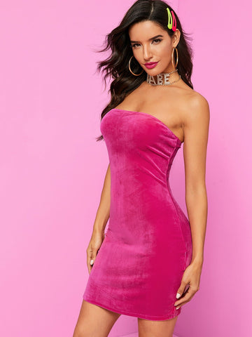Strapless Sleeveless Solid Bodycon Tube Velvet Dress