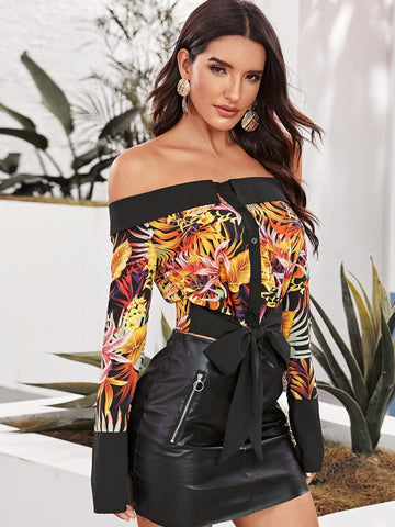 Off Shoulder Tropical Print Foldover Front Tie Hem Bardot Shirt