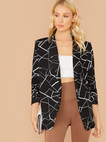 Black Notch Collar Geo Print Gathered Sleeve Blazer
