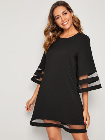 Round Neck Three Quarter Sleeve Keyhole Back Mesh Insert Dress