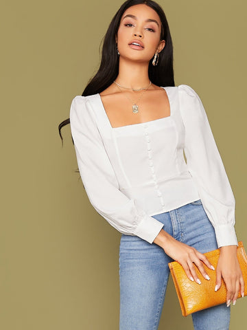 Square Neck Button Front Bishop Sleeve Top