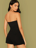 Strapless Sleeveless Straight Leg Belted Wrap Hem Tube Jumpsuit