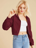 Oversized Solid Zip Up Corduroy Hooded Jacket