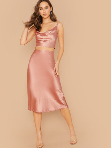 Pink Spaghetti Strap Sleeveless Draped Neck Satin Cami Top & Skirt Set