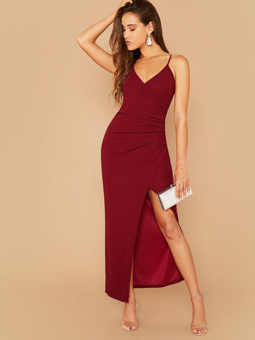 Spaghetti Strap Sleeveless Split Thigh Wrap Slip Dress