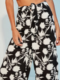 Black and White Tie Waist Floral Print Palazzo Pants