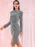 Round Neck Cut-out Back Draped Glitter Bodycon Dress