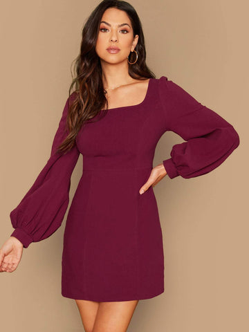 Square Neck High Waist Solid Lantern Sleeve Form Fitted Dress