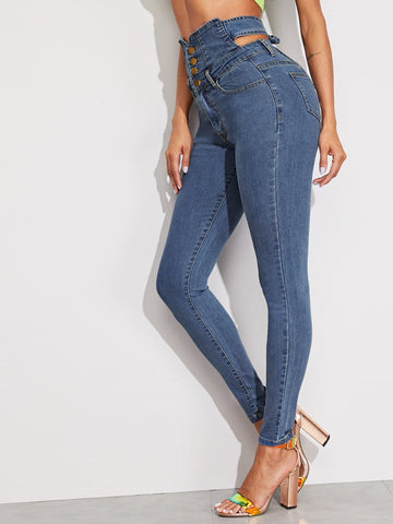 Blue Button Fly Cutout Tie Back High Waist Jeans
