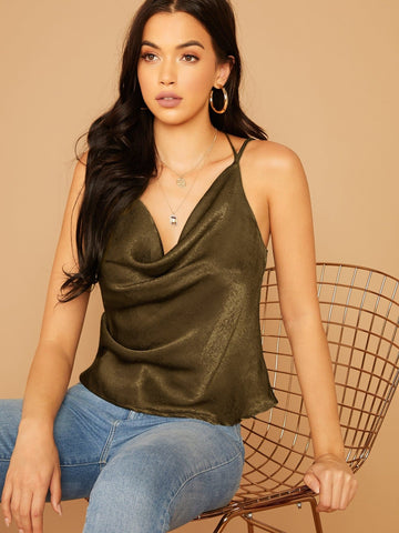 Spaghetti Strap Draped Neck Cut-out Back Satin Cami Top