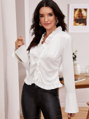White V-Neck Frill Trim Slit Cuff Satin Blouse Top